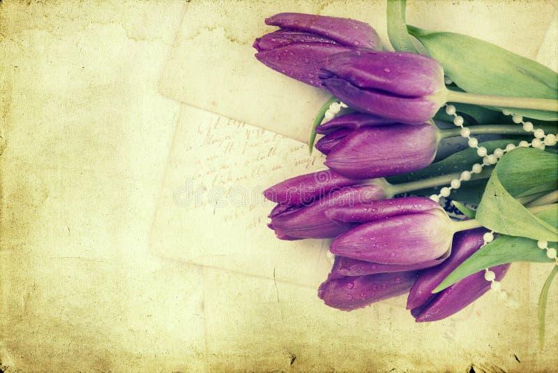 Starzy listy miłośni i purpurowi tulipany fotografia stock