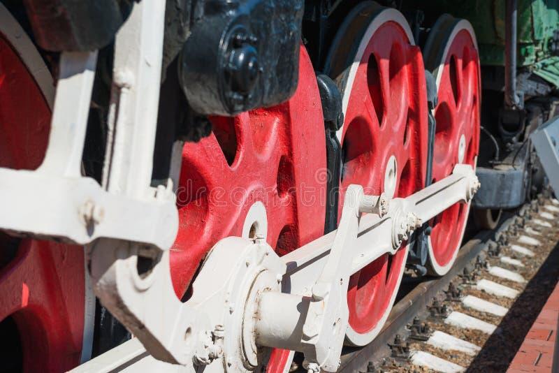 starzy lokomotoryczni czerwone koła Przewieziony temat fotografia stock