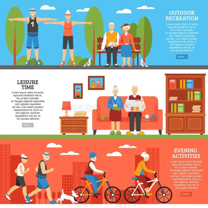 Starzy ludzie aktywność sztandarów ilustracja wektor
