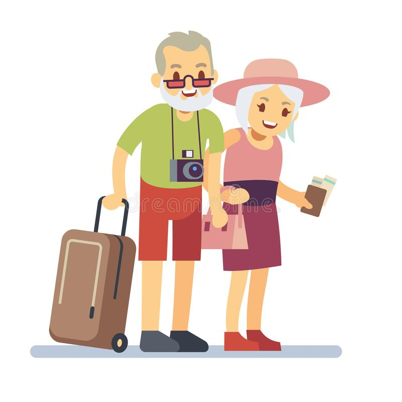 Starzy ludzie podróżników na wakacje Uśmiechnięci dziadkowie na wakacje Szczęśliwego starszego weterana podróżny wektorowy pojęci ilustracji