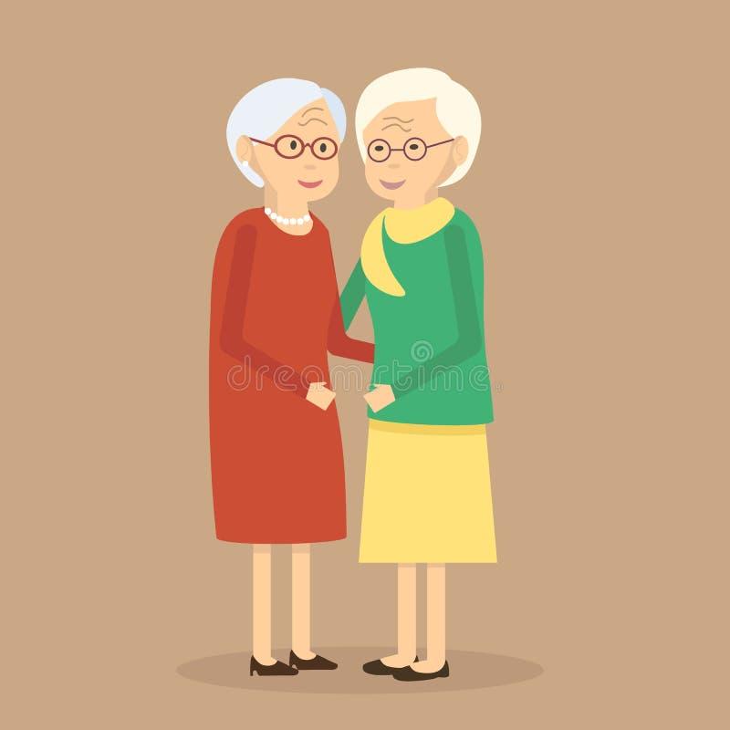Starzy ludzie przyjaciół royalty ilustracja