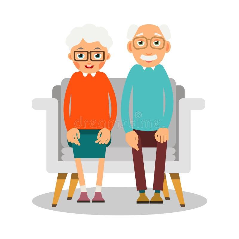 Starzy ludzie siedzieć Na kanapie siedzi starszej kobiety i mężczyzna Famil ilustracji