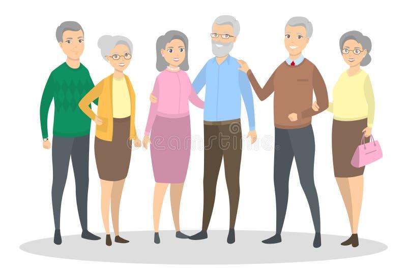 Starzy ludzie ustawiający ilustracji
