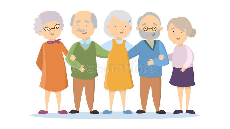 Starzy ludzie ustawiający royalty ilustracja
