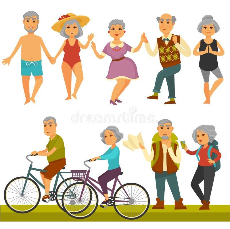 Starzy ludzie zabawa czasu wolnego i sport aktywności życia styl ilustracji