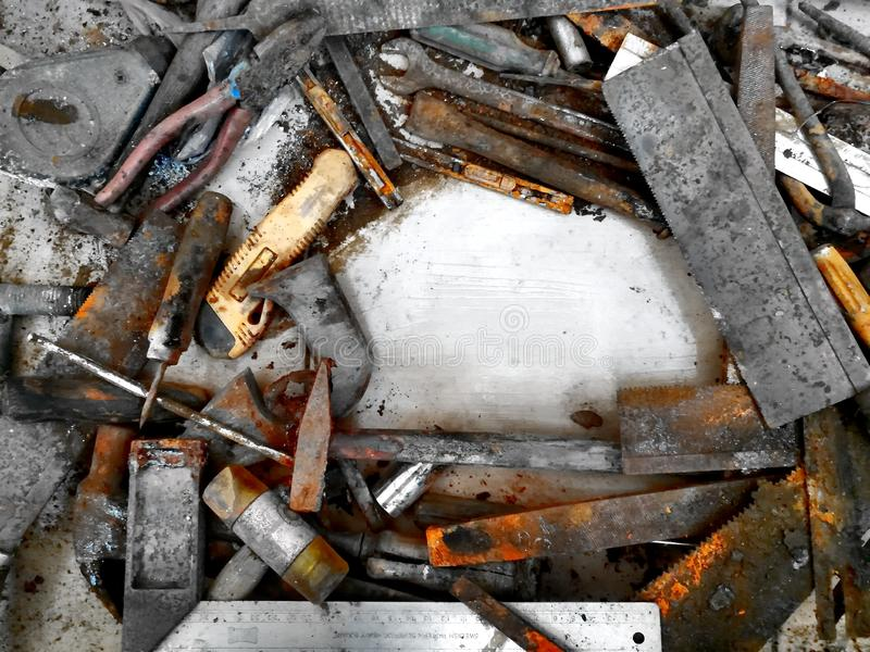 Starzy narzędzia i plama zdjęcie stock