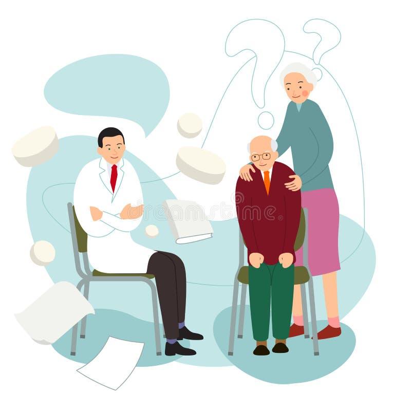 Starzy pacjenci Starzy ludzie na wizycie fabrykować Profesjonalista konsultuje mężczyzny z chorym sercem i kobiety z rany głową O ilustracji