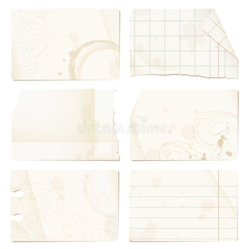 starzy papierowi prześcieradła ilustracji