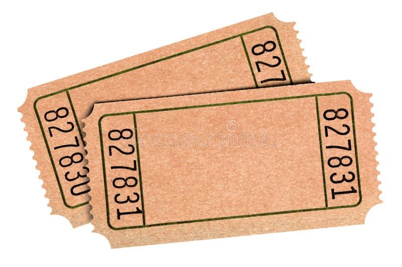Starzy puści raffle bilety odizolowywali białego tło dwa par wycinanka obrazy royalty free