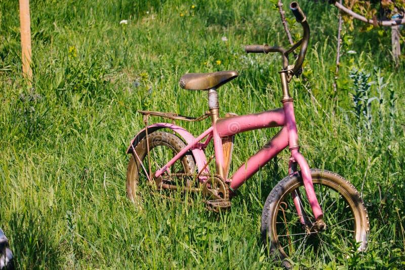 Starzy r??owi dzieci rowerowi w trawie Rocznika rower w parku niebieski blisko drzwi windy pejza? towarowy namalowa? pracownika L zdjęcia royalty free