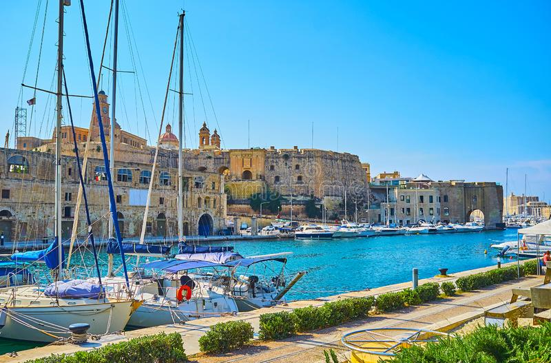 Starzy ramparts Senglea, Malta obraz stock