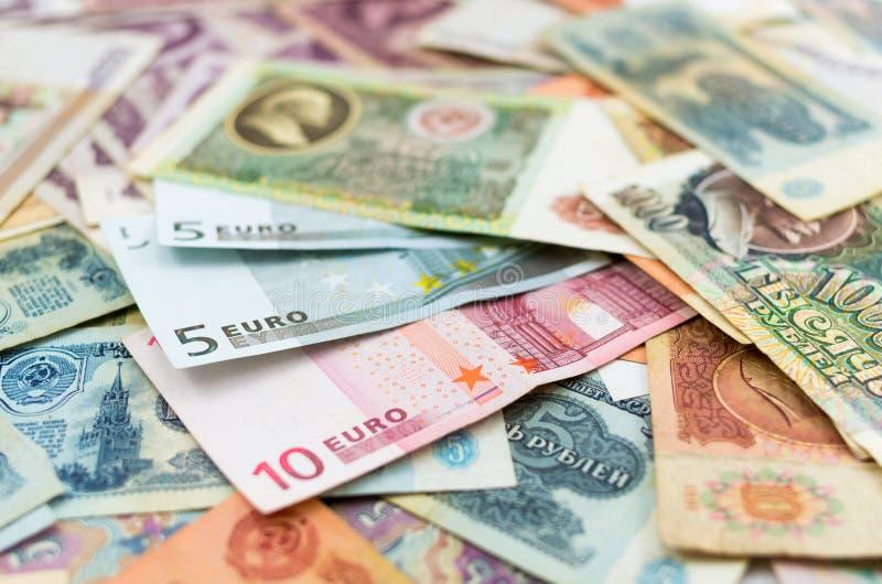 Starzy Rosyjscy banknoty i euro obrazy stock
