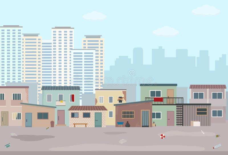 Starzy rujnujący domy i nowożytny miasto Kontrast nowożytni budynki i biedni slamsy royalty ilustracja
