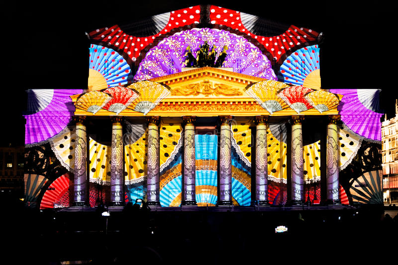 State Academic Bolshoi Theatre Opera and Ballet. Moscow, Russia - September 29, 2015: State Academic Bolshoi Theatre Opera and Ballet illuminated for free open royalty free stock images
