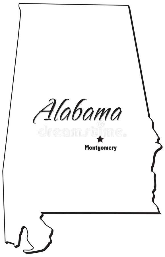 State of Alabama Outline. An outlined illustration of the state of Alabama stock illustration