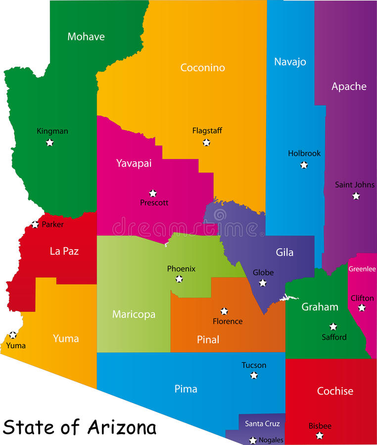 State of Arizona. Map of Arizona state designed in illustration with the counties and the county seats. (Map is hight resolution