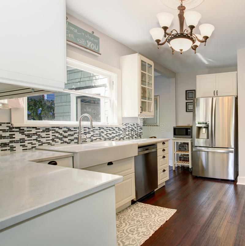 State of the art kitchen with stainless steel appliances. State of the art kitchen with stainless steel appliances and hardwood floor royalty free stock photo