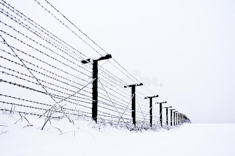 State border. In the Czech Republic in the winter. Memory of communist regime royalty free stock photos