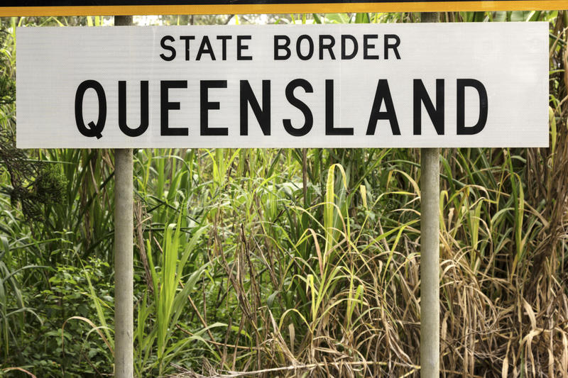 State border - Queensland. State border between Queensland and New South Wales stock photography
