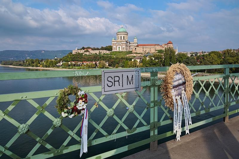 The state border between Slovakia and Hungary, and the Esztergom Basilica stock image