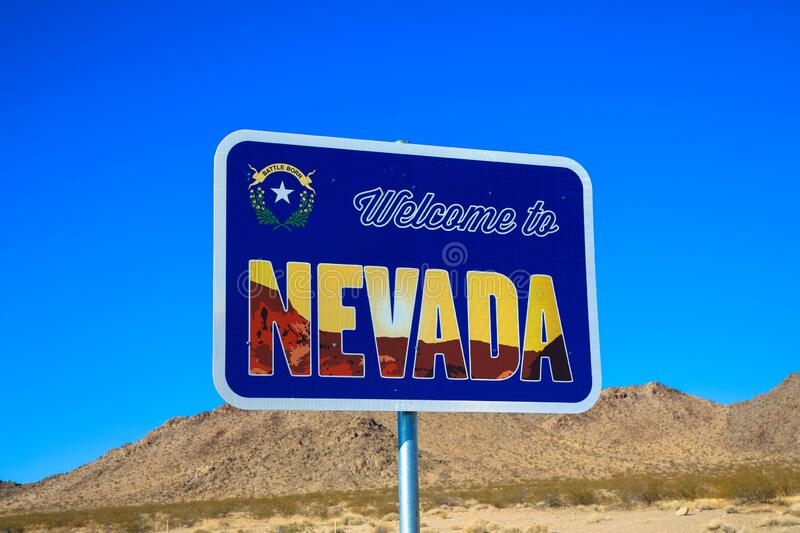 State Border, Welcome To Nevada Stock Image - Image of