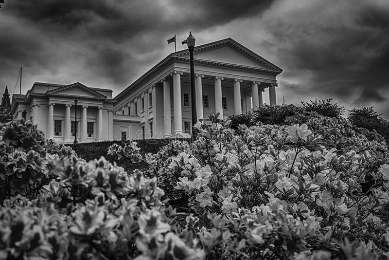 State Capital Building Sitting High on a Hill in Black and White HDR stock images