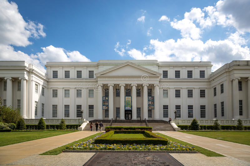 He State department of archive and history building in a blue sky day in Montgomery, Alabama, USA royalty free stock photo