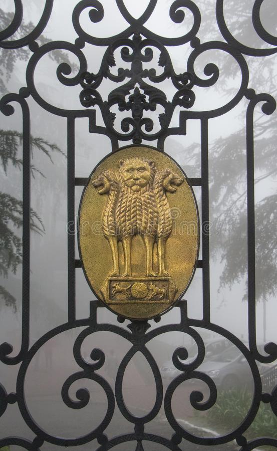 The state emblem of India stock photo