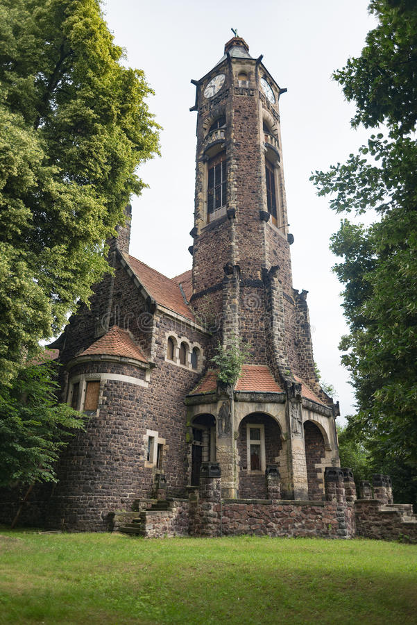 State evangelical Art Nouveau church Hrob with tower, Czech. Republic royalty free stock image