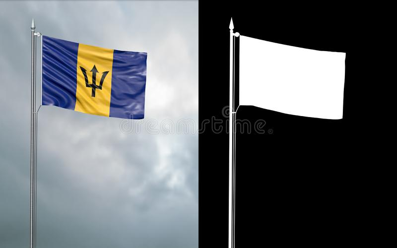 State flag of Barbados with alpha channel. 3d illustration of the state flag of Barbados, which throws wave-shaped folds in the wind on blurred background with stock illustration