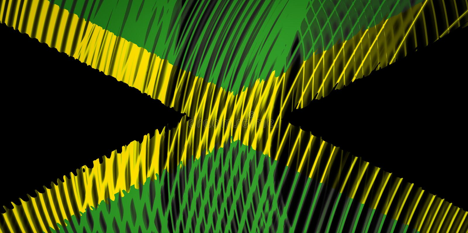 State flag of Jamaica on the background. Of neon geometric stripes royalty free illustration