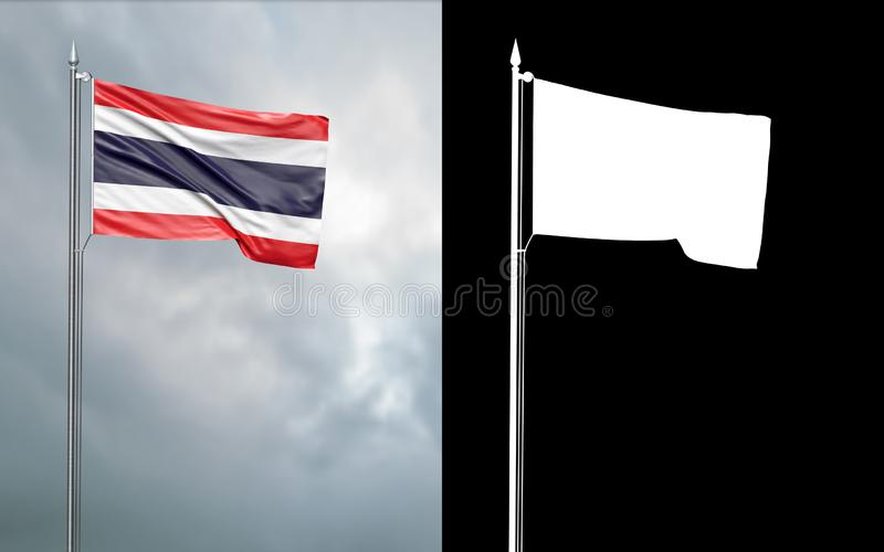 State flag of the Kingdom of Thailand with alpha channel. 3d illustration of the state flag of the Kingdom of Thailand, which throws wave-shaped folds in the stock illustration