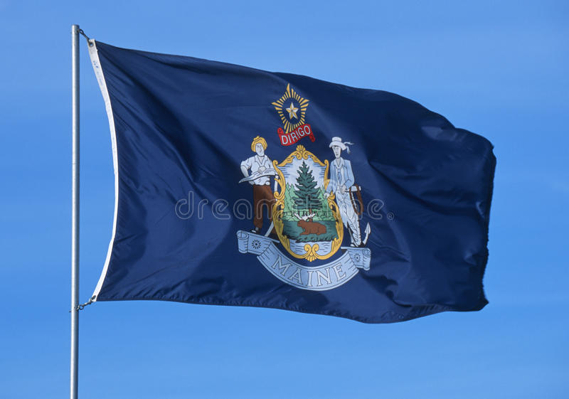 Download State Flag of Maine stock image. Image of flagpoles, america - 23168243