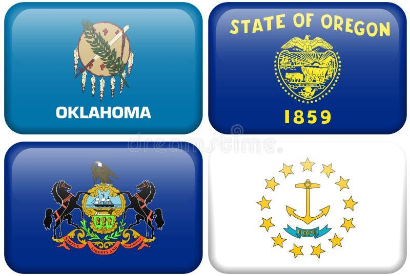 State Flag: Oklahoma, Oregon, Pennsylvania, RI stock illustration