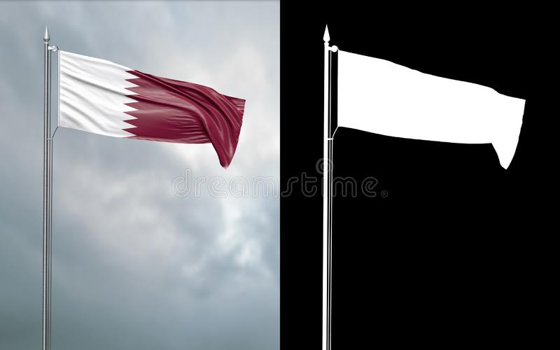 State flag of the State of Qatar with alpha channel. 3d illustration of the state flag of the State of Qatar, which throws wave-shaped folds in the wind on royalty free illustration
