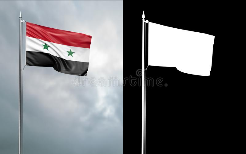 State flag of the Syrian Arab Republic with alpha channel. 3d illustration of the state flag of the Syrian Arab Republic, which throws wave-shaped folds in the vector illustration