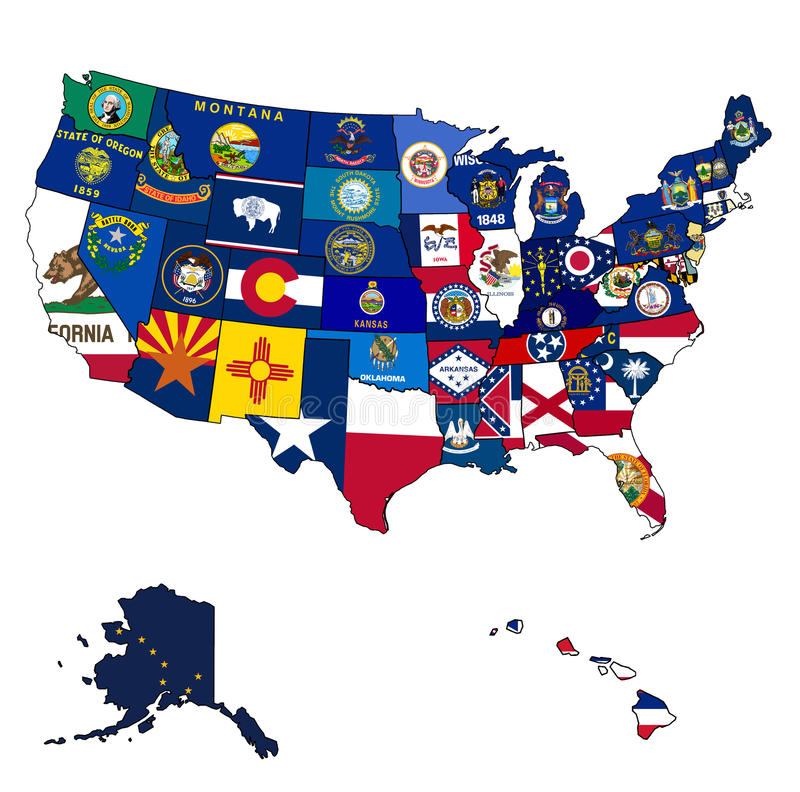 State Flags On Map Of Usa Royalty Free Stock Photos
