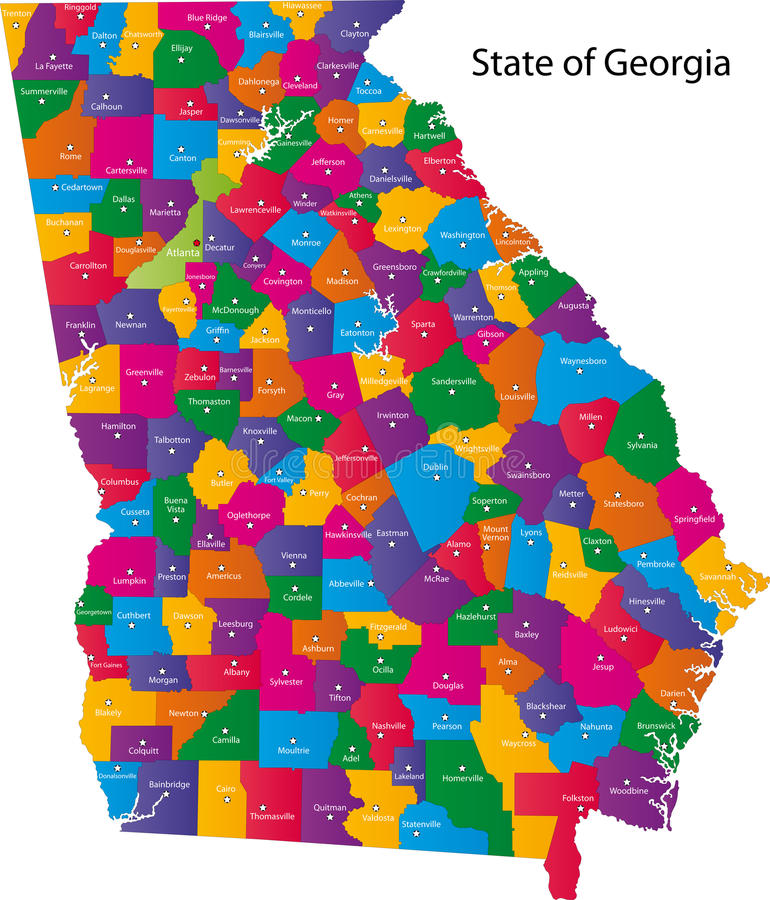 State of Georgia. Map of Georgia state designed in illustration with the counties and the county seats. (Map is hight resolution