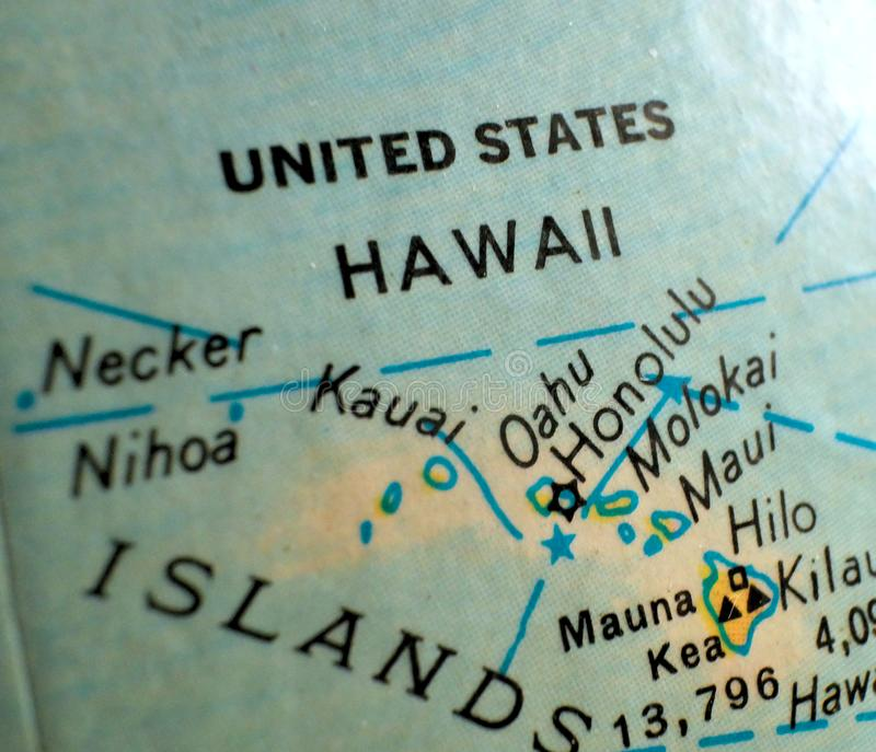 State of Hawaii map USA focus macro shot on globe for travel blogs, social media, web banners and backgrounds. State of Hawaii map USA focus macro shot on globe stock photos