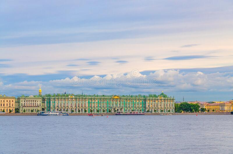 The State Hermitage Museum building, The Winter Palace official residence of the Russian Emperors. On embankment of Neva river, Saint Petersburg Leningrad city royalty free stock photography