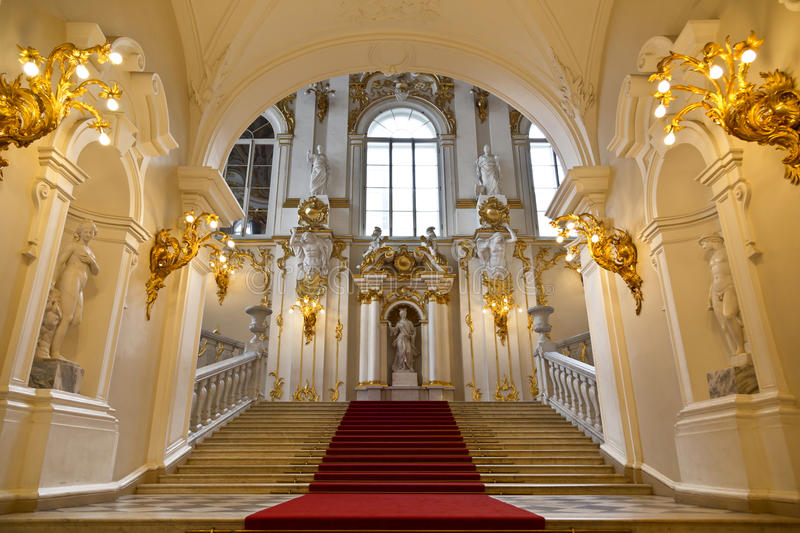 The State Hermitage Museum, grand staircase. St. Petersburg stock photos