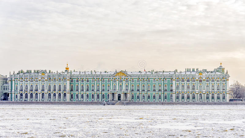The State Hermitage Museum. winter view from the frozen Neva.  stock image