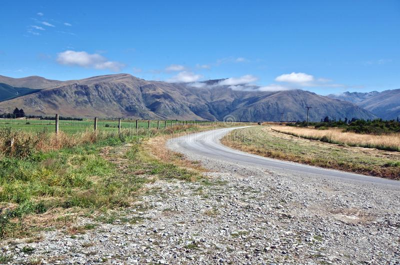 State Highway 6 and the rural landscape around Fairlight, New Zealand royalty free stock photo