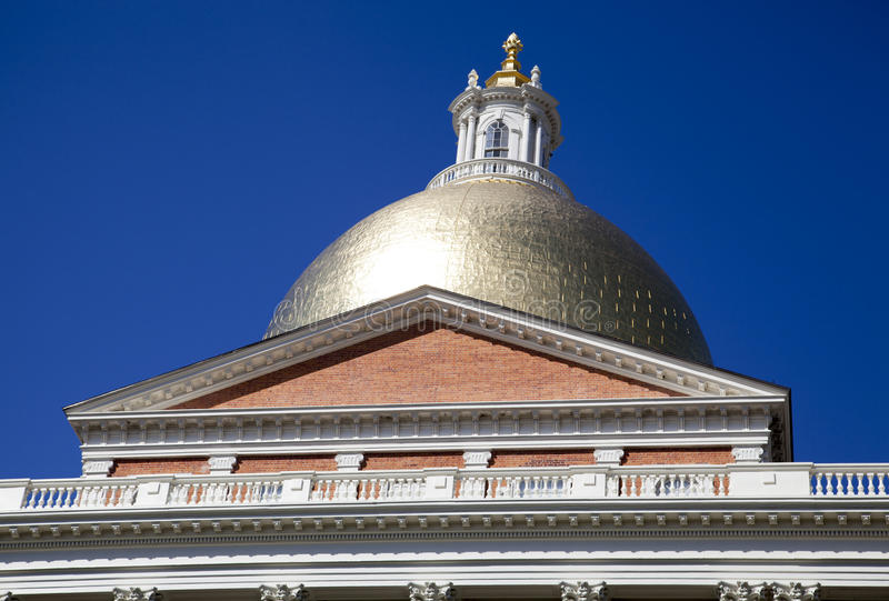State House Dome. The golden dome of Massachusetts State House in Boston royalty free stock images