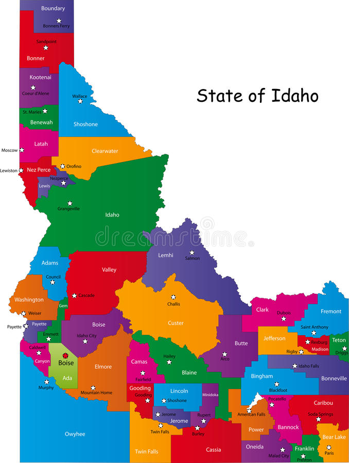 State of Idaho. Map of Idaho state designed in illustration with the counties and the county seats. (Map is hight resolution vector illustration
