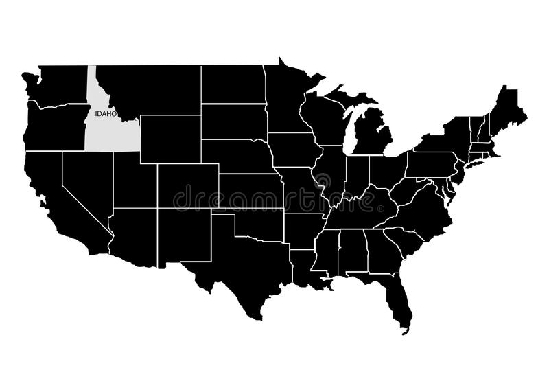 State Idaho on USA territory map. White background. Vector illustration vector illustration