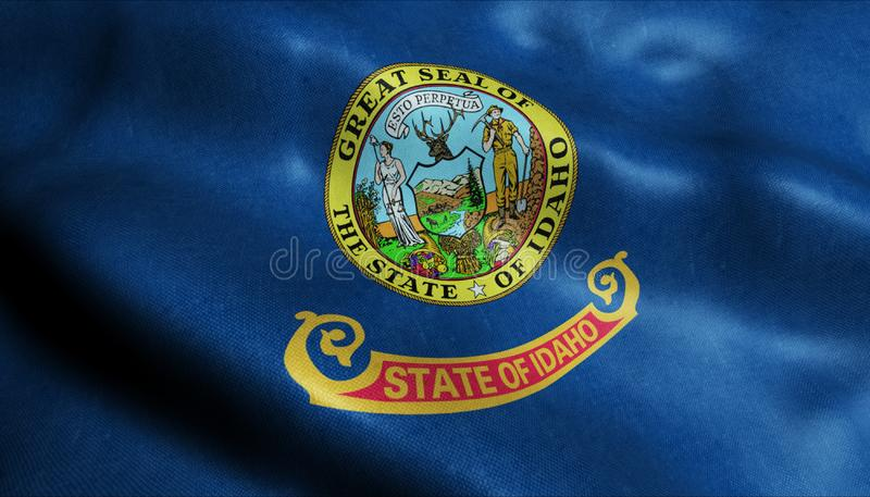 State of Idaho Waving Flag in 3D vector illustration