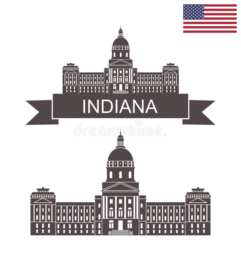 State of Indiana. State Capitol of Indiana in Indianapolis vector illustration