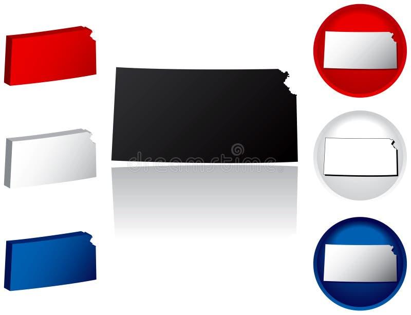 State of Kansas Icons stock illustration