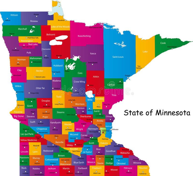 State of Minnesota. Map of Minnesota state designed in illustration with the counties and the county seats